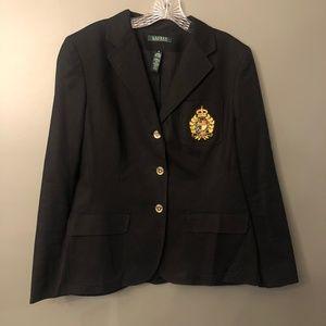 Lauren Ralph Lauren Black Varsity Crest Blazer 12